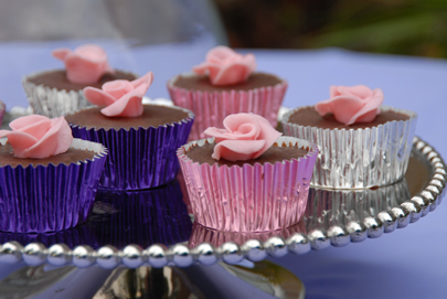fairy cakes rose silver platter